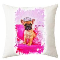 Francia Bulldog mintás párna - paint pink