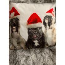 Francia Bulldogos karácsonyi párna