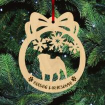 Mopszos karácsonyfadísz - Boldog Karácsonyt