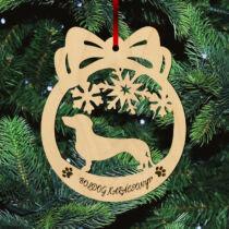 Tacskó karácsonyfadísz - Boldog Karácsonyt