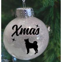 Husky mintás műanyag karácsonyfadísz - fehér csillogó