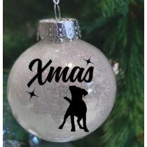 Jack Russel Terrier műanyag karácsonyfadísz - fehér csillogó