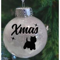 Westie mintás műanyag karácsonyfadísz - fehér csillogó