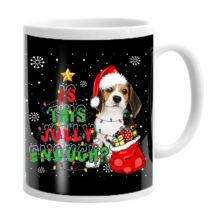 Beagle mintás karácsonyi bögre