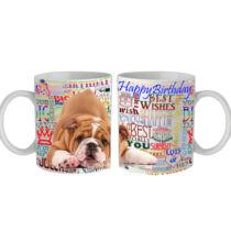 Angol Bulldog Happy Birthday feliratos bögre
