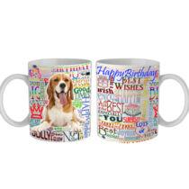Beagle Happy Birthday feliratos bögre