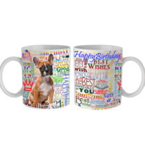 Francia Bulldog Happy Birthday feliratos bögre