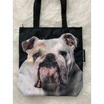 Angol Bulldog mintás táska - fehér