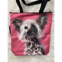 Kínai meztelen kutya mintás táska - pink
