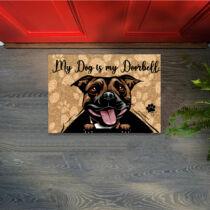 Stafforshire Bull Terrier mintás lábtörlő - doorbell