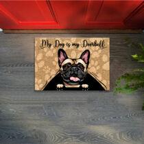 Francia Bulldog mintás lábtörlő - doorbell