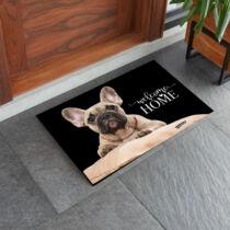 Francia Bulldog mintás lábtörlő - welcome