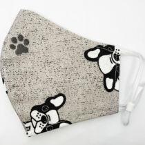 Francia Bulldog mintás fekete pamut szájmaszk