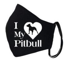 Pitbull mintás fekete szájmaszk - love my