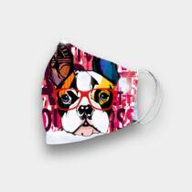 Francia Bulldog szájmaszk - szemüveges