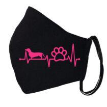 Tacskós ekg mintás fekete szájmaszk - pink