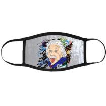 Albert Einstein mintás szájmaszk fekete peremmel