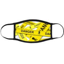 Danger szalag mintás szájmaszk fekete peremmel