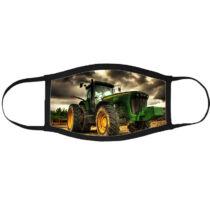 Traktor mintás szájmaszk fekete peremmel