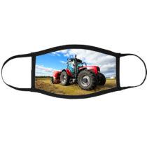 Traktor mintás szájmaszk fekete peremmel - piros