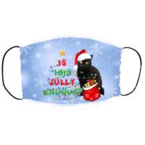 Fekete cicás karácsonyi szájmaszk - jolly