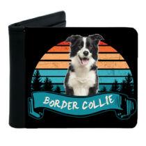 Border Collie mintás fekete műbőr pénztárca - color