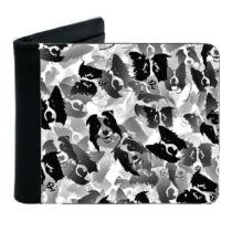 Border Collie mintás fekete műbőr pénztárca - pattern