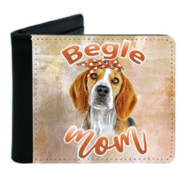 Beagle mintás fekete műbőr pénztárca - mom