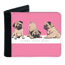 Mopsz mintás fekete műbőr pénztárca - rózsaszín