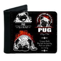 Mopsz mintás fekete műbőr pénztárca - dogs club