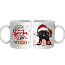 Boxer mintás karácsonyi bögre - santa