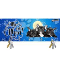 Francia Bulldogos karácsonyi fali kulcstartó