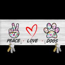 Peace Love Dogs mintás fali kulcstartó