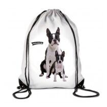 Boston Terrier mintás fehér hátizsák