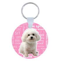 Bichon kulcstartó - rózsaszín