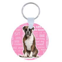 Boxer kulcstartó - rózsaszín