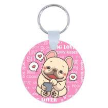 Francia Bulldog kulcstartó - szívecskés