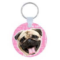 Mopszos kulcstartó - rózsaszín