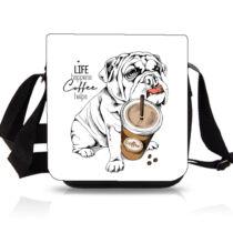 Angol Bulldog mintás oldaltáska - coffe