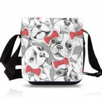 Francia Bulldog mintás oldaltáska - nyakkendő