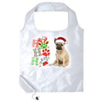 Francia Bulldog mintás karácsonyi összehajtható bevásárlótáska