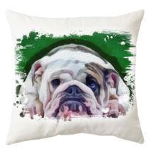 Angol Bulldog mintás párna - paint green