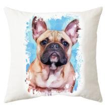 Francia Bulldog mintás párna - paint blue 2