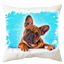 Francia Bulldog mintás párna - paint blue 3
