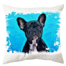 Francia Bulldog mintás párna - paint blue