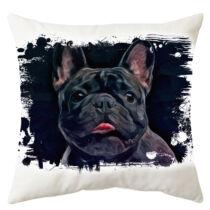 Francia Bulldog mintás párna - paint dark