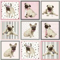 Mopsz és Francia Bulldog mintás poháralátét