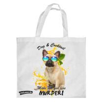 Francia Bulldog mintás bevásárló táska - koktél