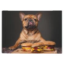 Francia Bulldog mintás üveg vágódeszka  - hamburger