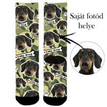 Egyedi képes kutyás zokni - camo